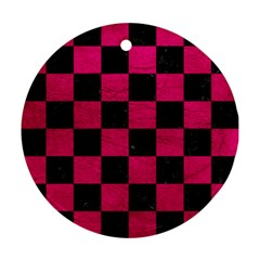 Square1 Black Marble & Pink Leather Round Ornament (two Sides) by trendistuff