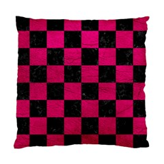 Square1 Black Marble & Pink Leather Standard Cushion Case (one Side) by trendistuff