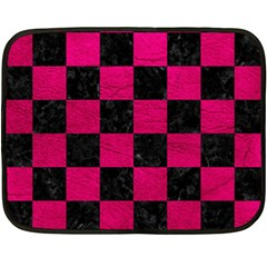 Square1 Black Marble & Pink Leather Double Sided Fleece Blanket (mini)  by trendistuff