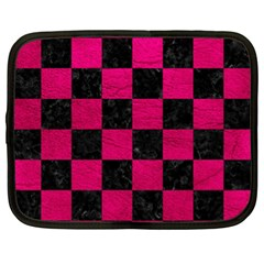 Square1 Black Marble & Pink Leather Netbook Case (xl)  by trendistuff