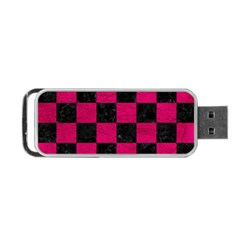 Square1 Black Marble & Pink Leather Portable Usb Flash (one Side) by trendistuff