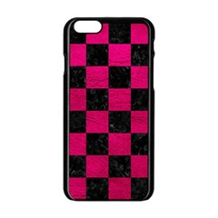 Square1 Black Marble & Pink Leather Apple Iphone 6/6s Black Enamel Case by trendistuff