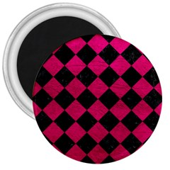 Square2 Black Marble & Pink Leather 3  Magnets by trendistuff