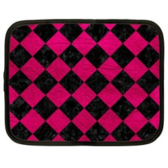 Square2 Black Marble & Pink Leather Netbook Case (xl)  by trendistuff