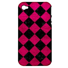Square2 Black Marble & Pink Leather Apple Iphone 4/4s Hardshell Case (pc+silicone) by trendistuff