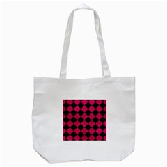 Square2 Black Marble & Pink Leather Tote Bag (white) by trendistuff