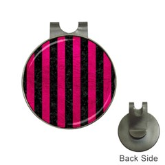 Stripes1 Black Marble & Pink Leather Hat Clips With Golf Markers