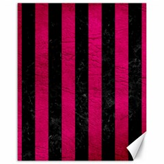 Stripes1 Black Marble & Pink Leather Canvas 16  X 20
