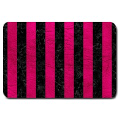 Stripes1 Black Marble & Pink Leather Large Doormat  by trendistuff