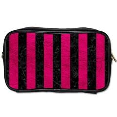 Stripes1 Black Marble & Pink Leather Toiletries Bags 2 Side by trendistuff