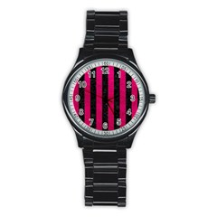 Stripes1 Black Marble & Pink Leather Stainless Steel Round Watch by trendistuff