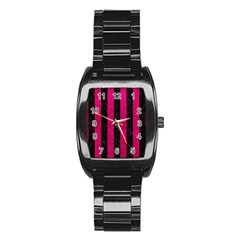 Stripes1 Black Marble & Pink Leather Stainless Steel Barrel Watch by trendistuff