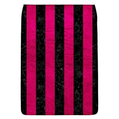 Stripes1 Black Marble & Pink Leather Flap Covers (l)  by trendistuff