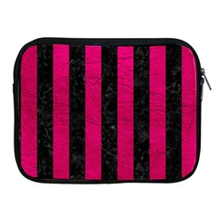 Stripes1 Black Marble & Pink Leather Apple Ipad 2/3/4 Zipper Cases by trendistuff