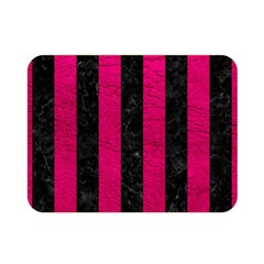 Stripes1 Black Marble & Pink Leather Double Sided Flano Blanket (mini)  by trendistuff