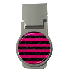 Stripes2 Black Marble & Pink Leather Money Clips (round)  by trendistuff