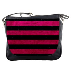 Stripes2 Black Marble & Pink Leather Messenger Bags