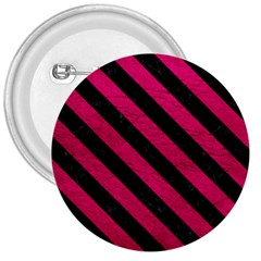 Stripes3 Black Marble & Pink Leather 3  Buttons by trendistuff