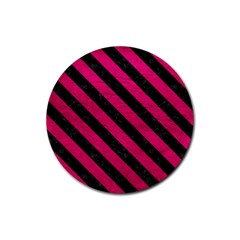 Stripes3 Black Marble & Pink Leather Rubber Round Coaster (4 Pack)  by trendistuff