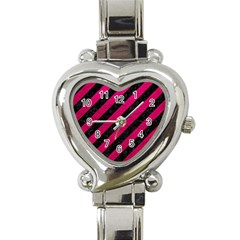 Stripes3 Black Marble & Pink Leather (r) Heart Italian Charm Watch by trendistuff
