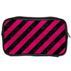 Stripes3 Black Marble & Pink Leather (r) Toiletries Bags by trendistuff