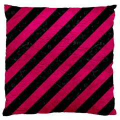 Stripes3 Black Marble & Pink Leather (r) Large Cushion Case (two Sides) by trendistuff