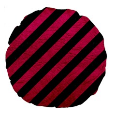 Stripes3 Black Marble & Pink Leather (r) Large 18  Premium Round Cushions by trendistuff