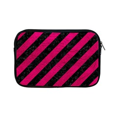 Stripes3 Black Marble & Pink Leather (r) Apple Ipad Mini Zipper Cases by trendistuff