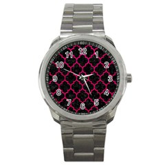 Tile1 Black Marble & Pink Leather (r) Sport Metal Watch