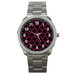TILE1 BLACK MARBLE & PINK LEATHER (R) Sport Metal Watch Front