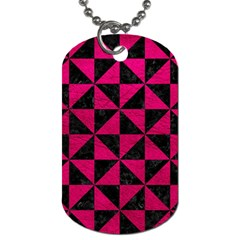 Triangle1 Black Marble & Pink Leather Dog Tag (two Sides) by trendistuff