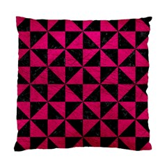 Triangle1 Black Marble & Pink Leather Standard Cushion Case (one Side) by trendistuff