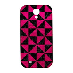 Triangle1 Black Marble & Pink Leather Samsung Galaxy S4 I9500/i9505  Hardshell Back Case by trendistuff
