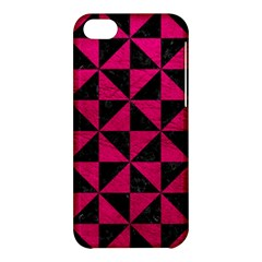Triangle1 Black Marble & Pink Leather Apple Iphone 5c Hardshell Case by trendistuff