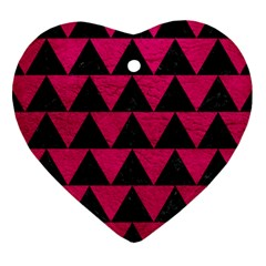 Triangle2 Black Marble & Pink Leather Heart Ornament (two Sides) by trendistuff
