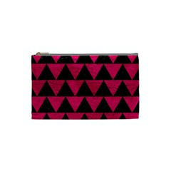 Triangle2 Black Marble & Pink Leather Cosmetic Bag (small)  by trendistuff