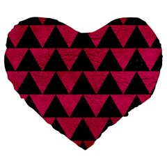 Triangle2 Black Marble & Pink Leather Large 19  Premium Heart Shape Cushions by trendistuff