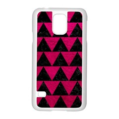 Triangle2 Black Marble & Pink Leather Samsung Galaxy S5 Case (white) by trendistuff