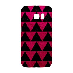 Triangle2 Black Marble & Pink Leather Galaxy S6 Edge by trendistuff