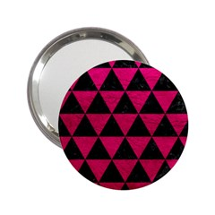 Triangle3 Black Marble & Pink Leather 2 25  Handbag Mirrors by trendistuff
