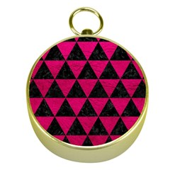 Triangle3 Black Marble & Pink Leather Gold Compasses by trendistuff