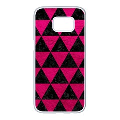Triangle3 Black Marble & Pink Leather Samsung Galaxy S7 Edge White Seamless Case by trendistuff