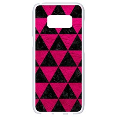 Triangle3 Black Marble & Pink Leather Samsung Galaxy S8 White Seamless Case by trendistuff