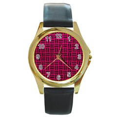 Woven1 Black Marble & Pink Leather Round Gold Metal Watch by trendistuff