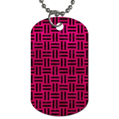 Woven1 Black Marble & Pink Leather Dog Tag (one Side)
