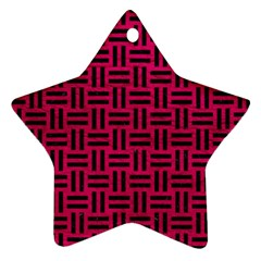 Woven1 Black Marble & Pink Leather Star Ornament (two Sides) by trendistuff
