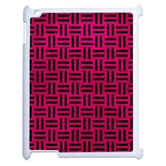 Woven1 Black Marble & Pink Leather Apple Ipad 2 Case (white) by trendistuff
