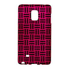 Woven1 Black Marble & Pink Leather Galaxy Note Edge by trendistuff