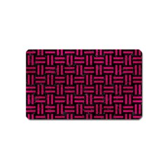 Woven1 Black Marble & Pink Leather (r) Magnet (name Card) by trendistuff
