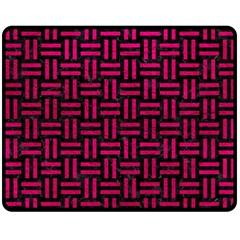 Woven1 Black Marble & Pink Leather (r) Double Sided Fleece Blanket (medium)  by trendistuff
